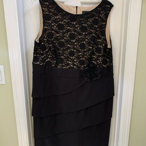 Plus size black and lace cocktail dress